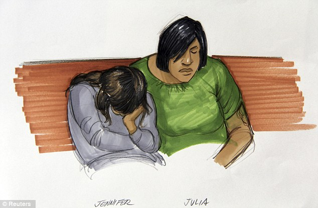 Emotional: A courtroom sketch shows Jennifer Hudson and sister Julia Hudson crying during arguments at the Cook County Criminal Court in Chicago, Illinois, on May 9, 2012
