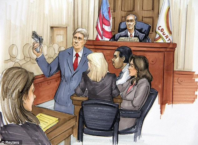 Evidence: Courtroom sketch of lead prosecutor James McKay holding a gun, as defendant William Balfour, who is charged with murdering singer Jennifer Hudson's mother, brother and nephew in October 2008, watches
