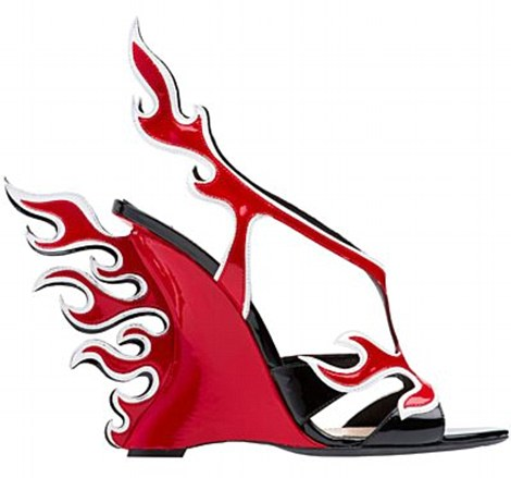 Flaming hot!  A red and black wedge borrows from 1950s car culture