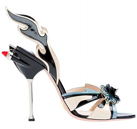 Flaming exhaust pipes are used as embellishment on the heels of many of the shoes