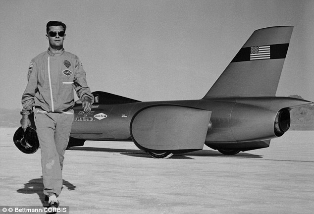 Iconic image: This picture is of Mr Breedlove with the three-wheeled vehicle The Spirit of America in 1963. The racer designed the machine himself and was inspired by John F Kennedy's space race