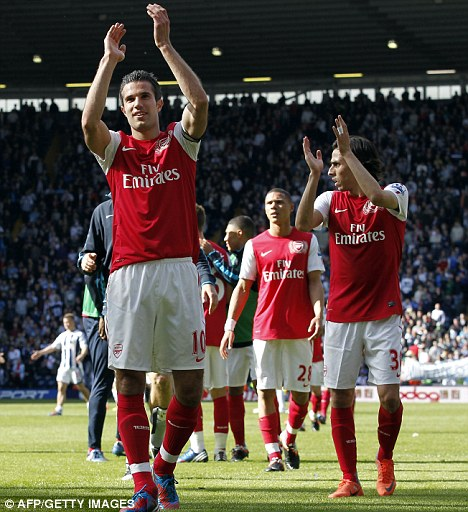 Applause: Van Persie salutes the Arsenal crowd after beating West Brom on the final day of the season