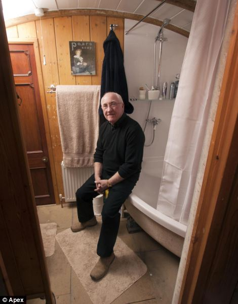 The carriage is even home to Mr Higgins' bathroom