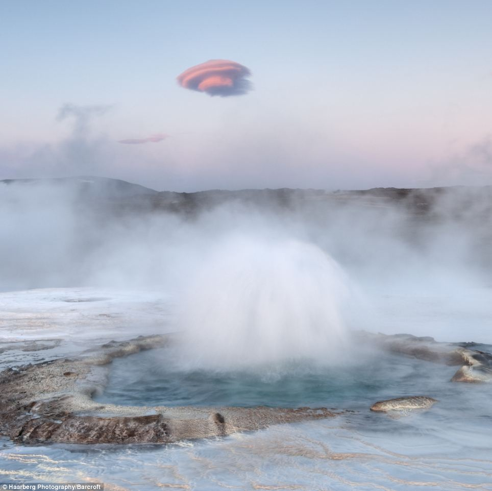 Atmospheric: This picture shows a hot spring with an unusual cloud formation above it in Hveravellir, Iceland