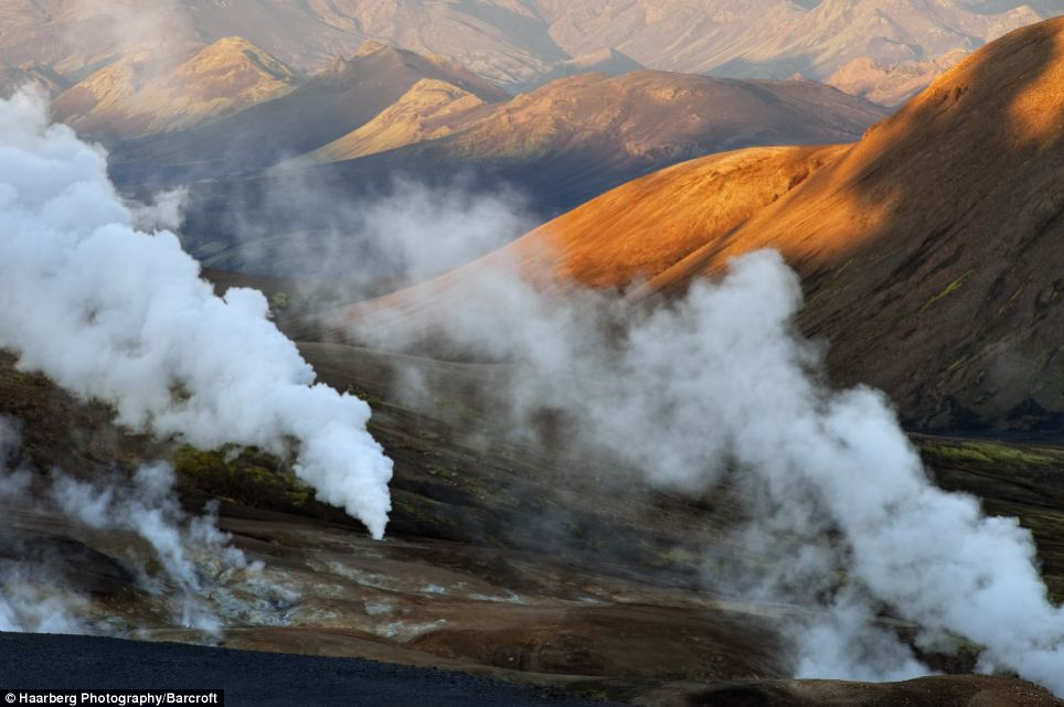Landscape: Steam can be seen shooting from the ground at the hot spring area of the Fjallabak Nature Reserve in Iceland