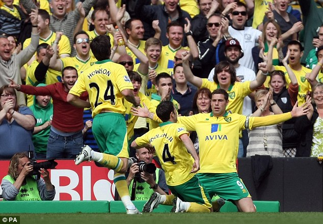 Holt end: Grant Holt hit Norwich's first goal in a victory that ended a poor season for Villa