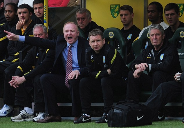 Axed: Villa boss Alex McLeish (pointing) has gone following a disappointing campaign