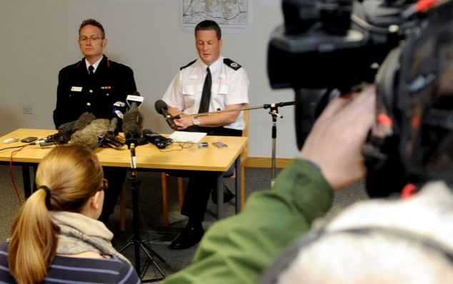 Events unfold: Chief Fire Officer Sean Frayne (left) and temporary Assistant Chief Constable Steve Cotterill (right) give a statement to the press on the case