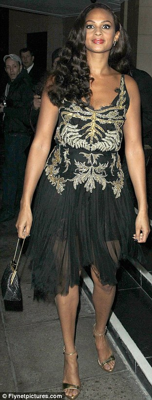 Chiffon chic: Alesha again opted for a transparent skirt, but wore a fitted slip underneath to protect her modesty