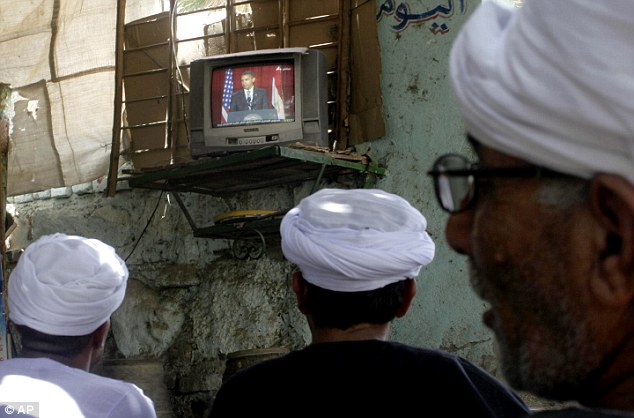 Out of Egypt: Egyptian villagers watched Obama's televised speech in a coffee shop in Qena, south Cairo, Egypt in 2009 when he was calling for a new beginning between the United States and Muslims