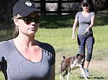 UK CLIENTS MUST CREDIT: AKM-GSI ONLY\nEXCLUSIVE: Brentwood, CA - Kate Upton goes on a hike with her friends and some cute four legged friends as well on a sunny warm day.