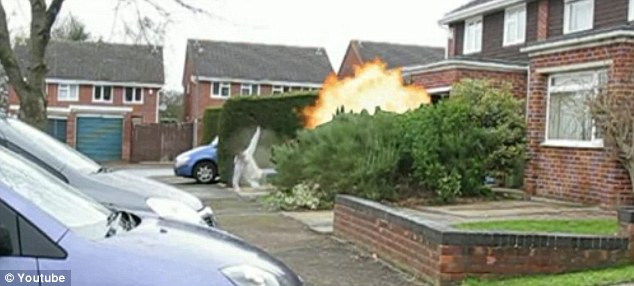 'Hoax': A clip from the video, which police do not think is genuine, showing an apparent explosion in a residential street