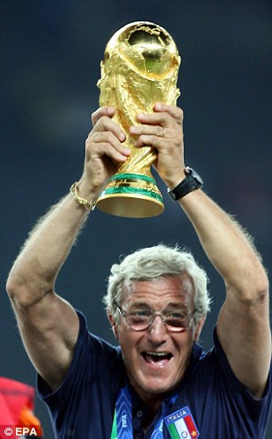 On top of the world: Lippi celebrates winning the World Cup in 2006