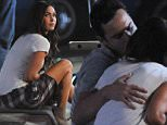 """Actress Megan Fox leans in for a kiss with co star Jake Johnson for a late scene in """"New Girl"""" filming in downtown Los Angeles. Jake looked shock as megan leaves him on the curb after their romantic kiss.\nFeaturing: Megan Fox, Jake Johnson\nWhere: Los Angeles, California, United States\nWhen: 21 Nov 2015\nCredit: Cousart/JFXimages/WENN.com"""