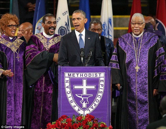 Iconic: President Barack Obama singing Amazing Grace in honor of Charleston shooting victim Rev. Clementa Pinckney will feature as an interlude on Coldplay's new album