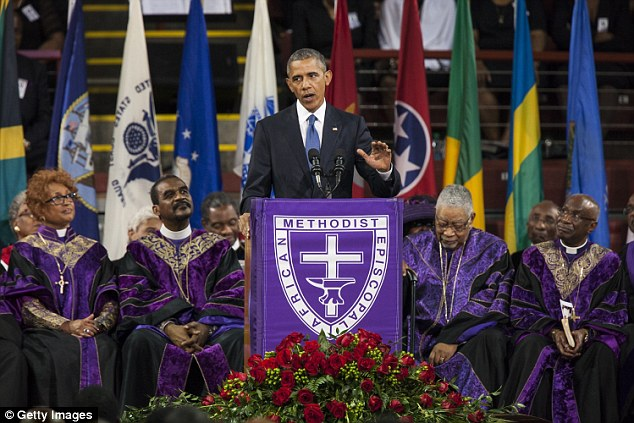 Moment in history: President Obama gives the eulogy at the memorial service for Reverend Clementa Pinckney in Charleston, on June 26