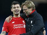 """Football - Manchester City v Liverpool - Barclays Premier League - Etihad Stadium - 21/11/15  Liverpool manager Juergen Klopp celebrates with Dejan Lovren after the game  Action Images via Reuters / Carl Recine  Livepic  EDITORIAL USE ONLY. No use with unauthorized audio, video, data, fixture lists, club/league logos or """"live"""" services. Online in-match use limited to 45 images, no video emulation. No use in betting, games or single club/league/player publications.  Please contact your account representative for further details."""