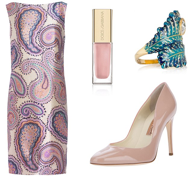 Dress, £299, jaeger.co.uk, Shoes, £375, rupertsanderson.com, Isharya ring, £40, net-a-porter.com, D&G nail polish, £18, harrods.com