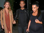 Santa Monica, CA - Kim Kardashian and fellow pregnant Chrissy Teigen get together with their husbands Kanye West and John Legend for a double date at Giorgio Baldi.  The Hollywood couples looked to have much to talk about as both Kim and Chrissy are currently pregnant, Kim having her second as Chrissy about to have her first.  Perhaps Kim had plenty to tell Chrissy on what to expect. MANDATORY CREDIT: Maciel/AKM-GSI AKM-GSI         November 21, 2015 To License These Photos, Please Contact : Steve Ginsburg (310) 505-8447 (323) 423-9397 steve@akmgsi.com sales@akmgsi.com or Maria Buda (917) 242-1505 mbuda@akmgsi.com ginsburgspalyinc@gmail.com