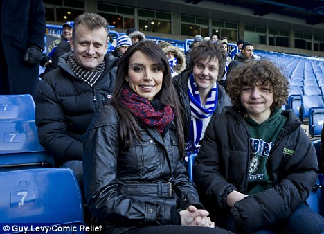 Fancy seeing you here! Christine Bleakley was the subject of the Outnumbered cast's mayhem when they filmed a sketch for Sport Relief at Stamford Bridge