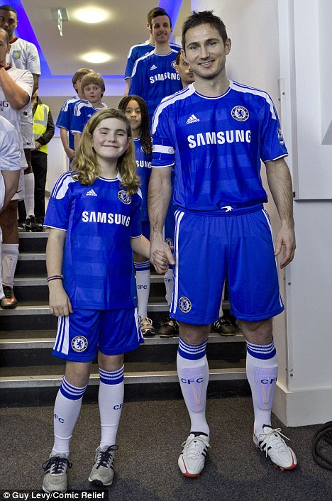 All for a laugh: Young actress Romona Marquez acted as Frank Lampard's mascot for the special charity sketchguy lev