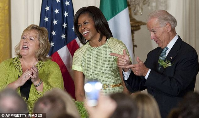 Biden, here with the First Ladies, has a history of blunders. Less than a week ago he claimed the raid that killed Osama bin Laden was the most 'audacious' in the last 500 years, beating even the D-Day landings