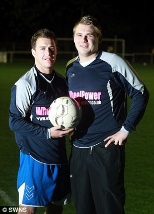 Top scorers: Robbie Bowker (left) and his brother Stuart netted 28 goals between them in Wheel Power's 58-0 demolition of Nova