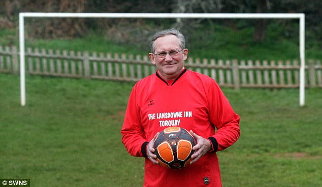 Thrashed: Lewis Parker, 60, from Paignton, Devon, who plays for Nova 2010 FC. He says the underdogs went in with little hope