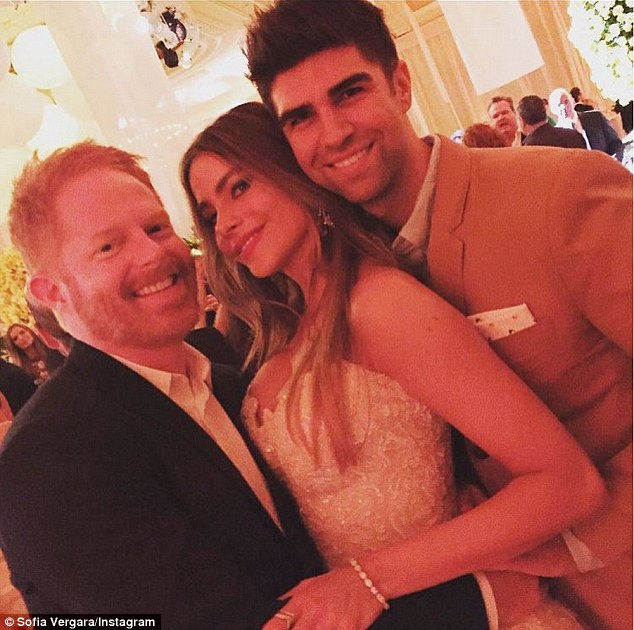 Perfect night: The TV star also shared pictures of her posing with family members and friends, including one with Modern Family co-star Jesse Tyler Ferguson and his husband, Justin Mikita