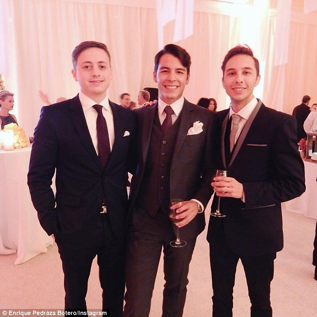 Fancy: In a second Instagram picture, Enrique (right) struck a pose with Manolo (center) and a friend, showing off their tuxedos