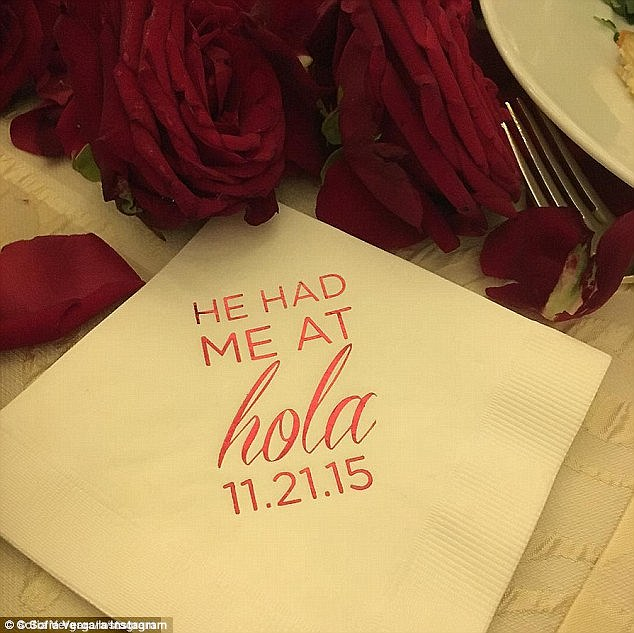 Love story: Sofia posted a shot of a napkin from the dinner, which read, 'He had me at hola'