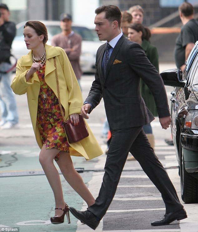 Lights, camera, action! Yesterday Leighton was seen filming scenes with Ed Westwick