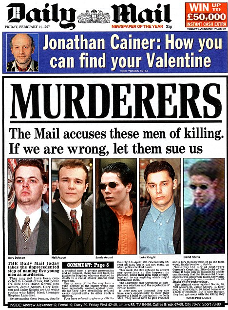 The Mail won the title for Campaign of the Year because of its coverage of the Stephen Lawrence case