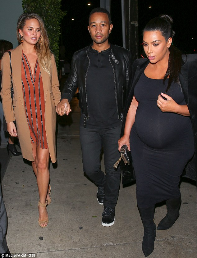 Power quatro!Kim Kardashian and Chrissy Teigen dined out with their husbands Kanye West and John Legend on Saturday night in LA