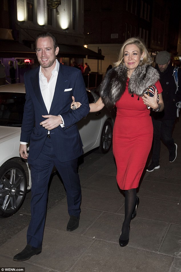 Diamond girl:Businesswoman Nadja Swarovski, founder of the self-named jewelry business, looked sensational in an elegant red dress which was perfectly tailored to her curves