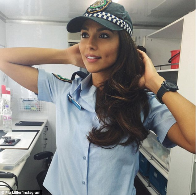 Soap star: The 32-year-old model-turned-actress plays a police officer on the Australian soap