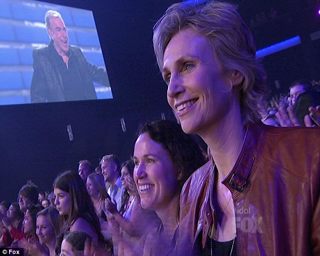 Star-studded: Even the audience was celebrity stuffed, here Jane Lynch and her wife are enjoying Neil Diamond's lovely performance