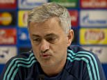 Chelsea manager Jose Mourinho speaks to the press ahead of group G Champions League soccer match in Haifa, Israel, Monday, Nov. 23, 2015. Chelsea will play against Maccabi Tel Aviv on Tuesday. (AP Photo/Ariel Schalit)
