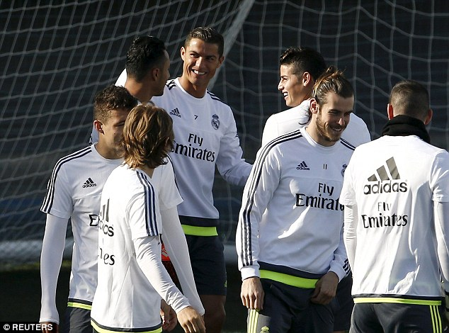 Real Madrid's 'BBC' front line were all back in training together ahead of the showdown with their rivals