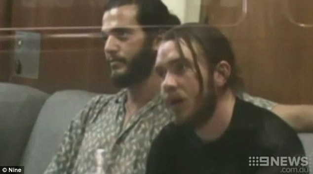 The three men were initially arrested and Julian Julian Musumeci (left) is pictured here with Liam Eales (right) on November 12