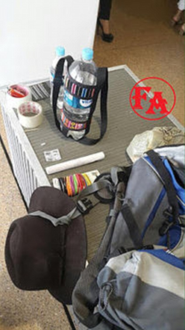Bolivian authorities released this picture showing the backpack that the explosives were allegedly carried in