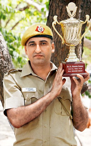 Jitender Kumar, an MA graduate studying for an MSc, who was awarded All Round Best in the Delhi Police's Driver Constable training programme