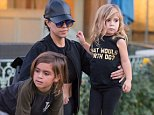 """UK CLIENTS MUST CREDIT: AKM-GSI ONLY EXCLUSIVE:  Kourtney Kardashian shows off her flat stomach while spending time with Penelope and Mason at the turtle pond after they just went and watched the Peanuts Movie without Scott. Penelope wears an adorable """"What Would North Do?"""" shirt.  Pictured: Kourtney Kardashian Ref: SPL1183208  221115   EXCLUSIVE Picture by: AKM-GSI / Splash News"""