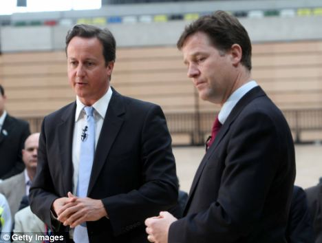 The relationship between Tory leader David Cameron (left) and Lib Dem's Nick Clegg has come under increasing scrutiny