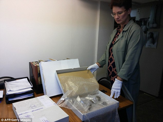 Investigation:Russia has launched an investigation to find out whether bone fragments (pictured) in a museum are the remains of the son of the last tsar