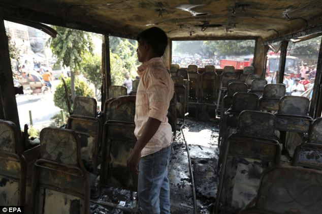 At least 18 people have been burned in the attack that completely gutted the bus