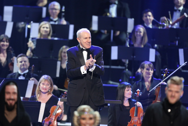 """An orchestra performs a tribute to """"Star Wars"""" at the American Music Awards at the Microsoft Theater on Sunday, Nov. 22, 2015, in Los Angeles. (Photo by Matt..."""