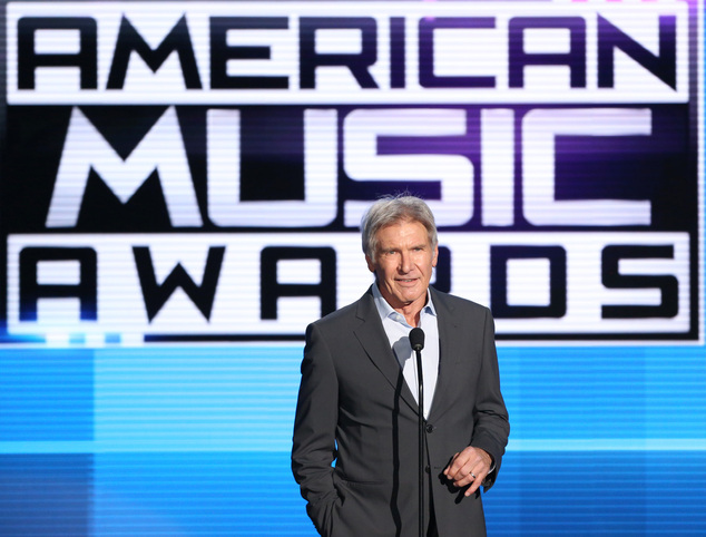 Harrison Ford introduces a performance by Pentatonix at the American Music Awards at the Microsoft Theater on Sunday, Nov. 22, 2015, in Los Angeles. (Photo b...