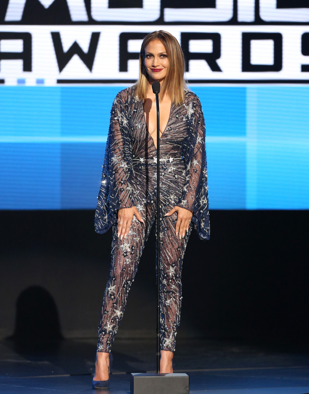 Jennifer Lopez speaks at the American Music Awards at the Microsoft Theater on Sunday, Nov. 22, 2015, in Los Angeles. (Photo by Matt Sayles/Invision/AP)