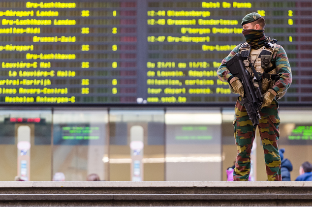 A Belgian Army soldier patrols in the main train station in the center of Brussels on Sunday, Nov. 22, 2015. Western leaders stepped up the rhetoric against ...